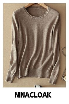 # Knitted fabric # Basic # Long sleeve # Multicolor # autumn / winter / spring # Solid color # Crew neck #