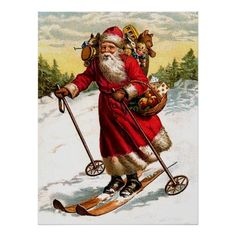"""Another charming vintage Santa Claus poster for Christmas. <br /><br /> <a href="""" http://vintagechest.net"""" target=""""_blank"""">Don't miss to visit the our blog!</a> <br /><br /> <a href="""" http://vintagechest.net"""" target=""""_blank"""">Besuch doch mal unser Blog!</a>  <div style=""""text-align:center;line-height:150%""""><a href=""""http://www.zazzle.com/santa_claus_in_airship_poster-228709740100516199?gl=vintagechest&rf=238381683326950745""""><img ..."""