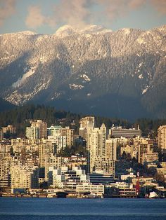 The City of North Vancouver (Lower Lonsdale) and the North Shore mountains, as seen from Canada Place.