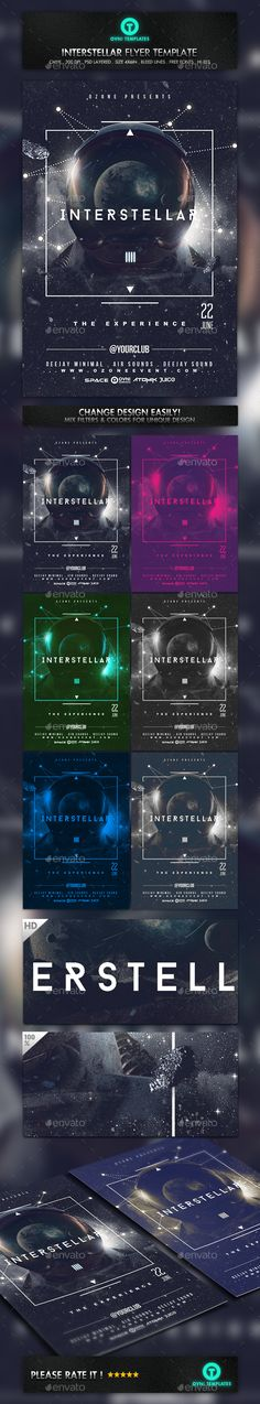 Space Minimal Interstellar Flyer Template  #timetravel • Click here to download ! http://graphicriver.net/item/space-minimal-interstellar-flyer-template/16071343?ref=pxcr