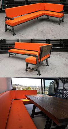 The Classic X Bench - a fully bespoke edition of our industrial seating product. The comfortable corner sofa features orange leather and a solid and stable steel frame. Corner Seating, Cafe Seating, Floor Seating, Corner Sofa, Kitchen Seating, Kitchen Tables, Dining Tables, Industrial Apartment, Industrial Loft