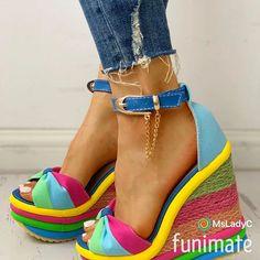 Clark Women S Shoes Discount Platform High Heels, Platform Wedge Sandals, Wedge Heels, Colorful Wedges, Espadrilles, Beach Blonde, Prom Shoes, Blue Sandals, Ankle Strap Heels