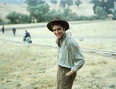 LOVE ME TENDER (1956) - Elvis Presley (who portrays 'Clint Reno') on location at 20th Century-Fox Ranch in California -  Directed by Robert D. Webb - 20th Century-Fox - Publicity Still.