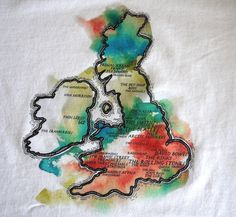 Illustration of the UK with British rock bands on the map. #tshirt #t-shirt #fashion #white #British #rock #music #map #bands #mens #gift Mens Rock/Band UK t-shirt in white