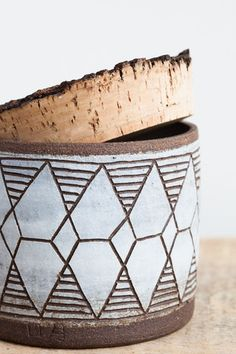 april napier ceramic diamonds canister with cork lid