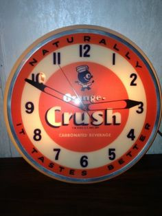 "1950's-PAM CLOCK,USA-""ORANGE CRUSH"" CLOCK-CONVEX GLASS"