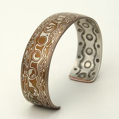 Mokume Gane Cuff Bracelet, wide - Moon phases in silver/copper