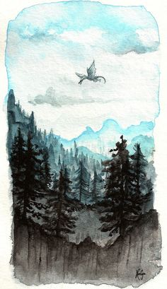 Gallery | Facebook | Tumblr | Society6   I've finally started the watercolor course! This is one of the little landscape tries I did for class, inspired by a Skyrim view I found on Tumblr. I h...