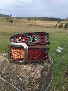 Aztec beaded belt made by DustyCowgirl Leather Like us on Facebook