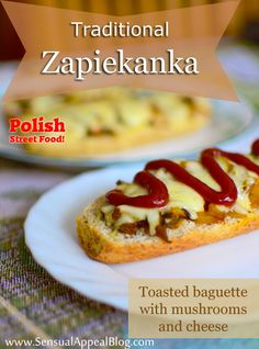 Polish Street Food - Zapiekanka - Toasted Baguette with Mushrooms and Cheese - a Polish street food that is super easy to make and is very popular in Poland. These are delicious! Cheese Recipes, Cooking Recipes, Easy Recipes, Poland Food, Eastern European Recipes, Sandwiches, Good Food, Yummy Food, Polish Recipes