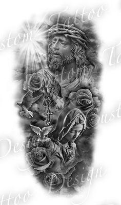 religious theme, black and white sketch, forearm sleeve tattoo sleeve tattoos ▷ 1001 + ideas for beautiful sleeve tattoos for men and women Jesus Tattoo Design, Angel Tattoo Designs, Tattoo Sleeve Designs, Tattoo Designs Men, Angel Tattoo Men, Angels Tattoo, Tattoo Design For Men, Angel Warrior Tattoo, Forearm Sleeve Tattoos