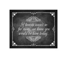 If Heaven wasn't so far away, we know you would be here today Chalkboard style Memorial Sign -  DIY Download and Print - Printable File