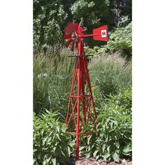 Red windmill for the garden