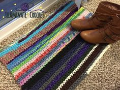 Ravelry: Fugly Scrap Rug pattern by Sara Leighton Crochet Home, Knit Crochet, Stool Covers, Yarn Store, Photo Tutorial, Floor Rugs, Glamping, Crochet Projects, Free Pattern