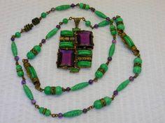 Vintage-Art-Deco-Czech-Czechoslovakia-Rhinestone-Peking-Glass-Necklace-Lavaliere