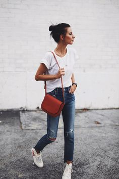 CITIZENS OF HUMANITY | liya jeans / CITIZENS OF HUMANITY | premium vintage tee /  COMMES DES GARCON | converse sneakers / MANSUR GAVRIEL | cross-body bag / jewellery from MISSOMA