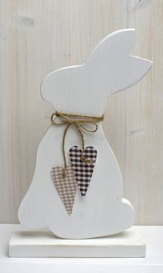 Beautiful Easter Bunny made of 18 mm solid wood painted white on both sides. Stoffherzen s … - DIY CRAFTS Rabbit Crafts, Bunny Crafts, Easter Crafts, Hoppy Easter, Easter Bunny, Easter Projects, Craft Projects, Spring Crafts, Holiday Crafts