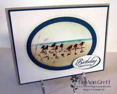 "By LeeAnn Greff. Uses Stampin' Up ""Wetlands"" stamp set. Sponged."