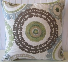 Blue Brown Suzani Decorative Pillow Cover--20 x 20 Gorgeous Throw Pillow--Slate Blue, Green, Taupe, Cream, Brown