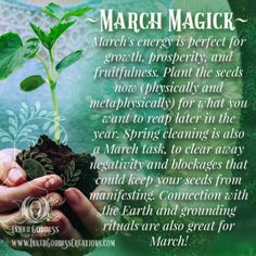 ~ March Magick ~ March's energy is perfect from growth, prosperity, and fruitfulness. Plant the seeds now (physically and metaphysically) for what you want to reap later in the year. Witch Board, Wicca Witchcraft, Moon Magic, Sabbats, Spiritual Path, Magic Spells, Book Of Shadows, Spelling, Spirituality