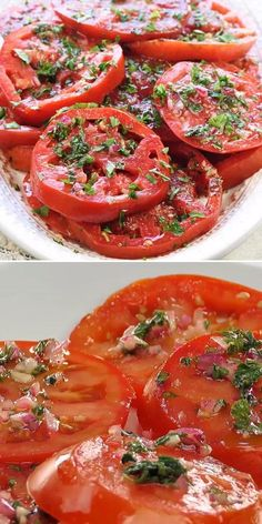 Wondering what to make with tomatoes? Here's another recipe for your repertoire! Not only is it effortless to throw together, but it is also customizable. Whether served on their own as a salad idea or as an easy side dish for dinner, these Marinated Tomatoes are delicious! Fresh Tomato Recipes, Tomato Salad Recipes, Salad Recipes For Dinner, Vegetable Recipes, Appetizer Recipes, Recipes With Fresh Tomatoes, Italian Tomatoes Recipe, Tomato Ideas, Tomato And Onion Salad