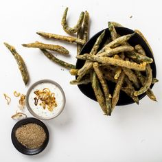 fried green beans with an addictive shallot dip