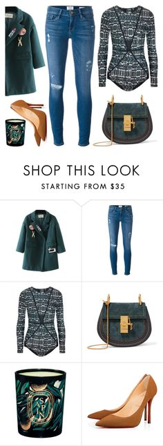 """Teal + Tan"" by cherieaustin ❤ liked on Polyvore featuring Frame, The Upside and Chloé"