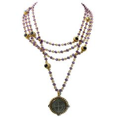 Bicone Magdalena Necklace, Gold Cyclamen & Black Diamond by Virgins, Saints, and Angels $286