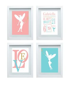 Birth Announcement, Fairy Nursery Decor, Birth Stats, Pink, Baby Blue Gold, Birth Subway Art  Wall Art Love Quote Set of 4- 8X10 Girl's room...