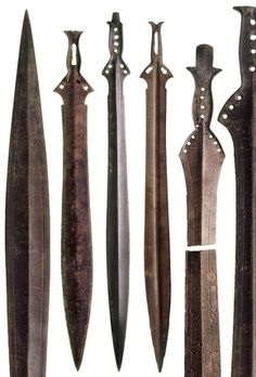 The Mycenean Age was characterized in part by the impressive military developments made by the Greek people. Specifically, the bronze weapons and armor that were frequently used in military exploits; weapons much like those pictured here. Swords And Daggers, Knives And Swords, Minoan, Mycenaean, Medieval Weapons, Creta, London Museums, Iron Age, Prehistory
