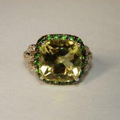 Estate 14k WG Lemon Quartz, Tsavorite Garnet & Diamond Ring
