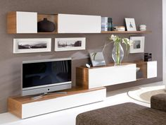 White and Walnut 3 Unit TV Wall Storage and Display System - Contemporary wall…