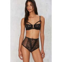 First Impressions Lace Bra and Panty Set ($48) ❤ liked on Polyvore featuring intimates, black, cut out lingerie, transparent lingerie, high waisted lingerie, strappy lingerie and lacy lingerie