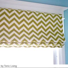 Pear green chevron stripe roman blind on Benjamin Moore's Wedgewood blue walls. By @tonicliving