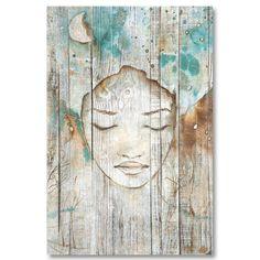 Tableau décoratif effet bois rêve de femme esquisse peinture bleu turquoise Deco Turquoise, Survival Blanket, Chuck Wagon, Bullion Coins, Photo Book, Mother Nature, Drawings, Illustration, Artwork