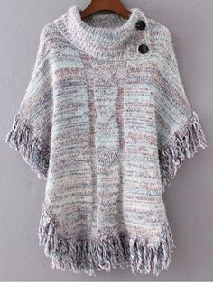 To find out about the Light Blue Fringe Marled Knit Poncho Sweater at SHEIN, part of our latest Sweaters ready to shop online today! Poncho Pullover, Poncho Sweater, Knitted Cape, Crochet Poncho, Cozy Sweaters, Sweaters For Women, Boutique Clothing, Pattern Fashion, Knitwear