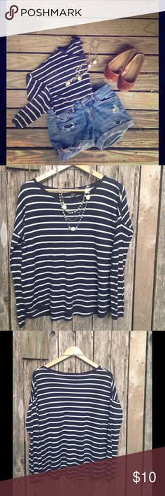 Dark Navy and White Striped Shirt Very soft, very gently used, no visible wear or pulls. 50% vicose, 50% acrylic H&M Tops Tees - Long Sleeve