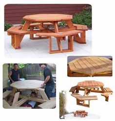 Octagon Picnic Table with Accent Ring Plan - I have this plan from Woodcraftplans.com.