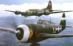 P-47D razorback version of the Thunderbolt fighter, escorting a B-17G Flying Fortress heavy bomber