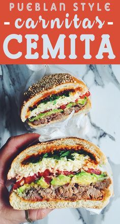 This Pueblan Style Cemitas Sandwich is stuffed with carnitas, chipotle peppers, avocado, tomato, papalo (or cilantro). adobo sauce and oaxaca cheese.