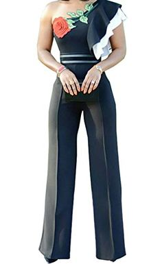 9a0887f2a8da Lichene Women's Off One Shoulder Ruffle High Waist Wide Leg Long Pants  Palazzo Jumpsuits Rompers