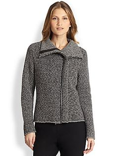 Eileen Fisher Leather-Trimmed Wool/Alpaca Jacket