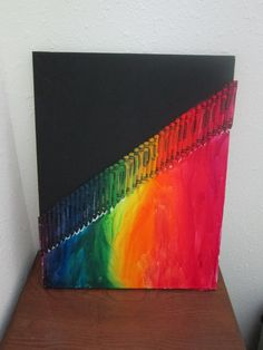 Diagonal Rainbow Melted Crayon Art by DuncanDepot on Etsy