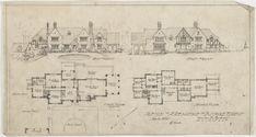 West front, east front, first floor plan, second floor plan