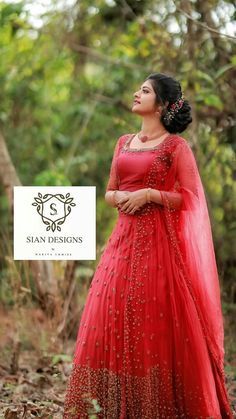Stylish Dresses For Girls, Wedding Dresses For Girls, Indian Wedding Outfits, Cute Dresses, Bridal Dresses, Kerala Engagement Dress, Engagement Dress For Bride, Half Saree Designs, Silk Saree Blouse Designs