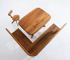 Pierre Chapo Rare Dining Set in Solid Elmwood, 1960s 5: