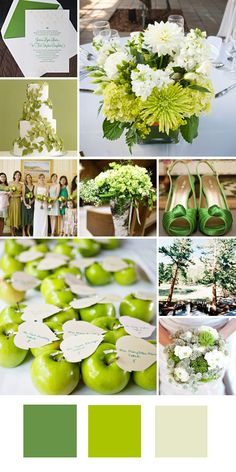 Kelly Green + Lime Green + Cream    Good for: An outdoor spring wedding.    Tips for pull it off: Keep the look clean by using natural shades (no electric green here!).