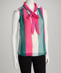 Teal & Fuchsia Stripe Tie-Neck Sleeveless Top