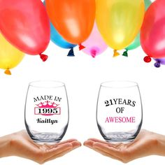 21th Birthday Gift  Etched Wine Glasses  Personal by TipsyGifts
