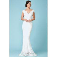 87eba8a0c8 Koronkowa suknia ślubna w kremowym kolorze fason rybka